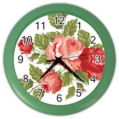 Flower Rose Pink Red Romantic Color Wall Clocks