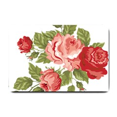 Flower Rose Pink Red Romantic Small Doormat