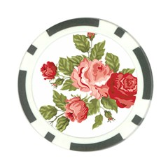 Flower Rose Pink Red Romantic Poker Chip Card Guard