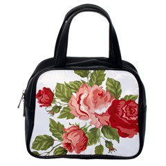 Flower Rose Pink Red Romantic Classic Handbags (One Side)