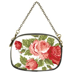 Flower Rose Pink Red Romantic Chain Purses (one Side)