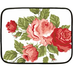 Flower Rose Pink Red Romantic Double Sided Fleece Blanket (mini)