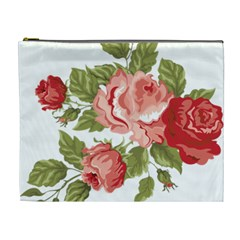 Flower Rose Pink Red Romantic Cosmetic Bag (XL)