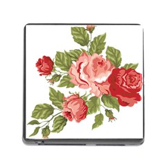Flower Rose Pink Red Romantic Memory Card Reader (square)