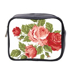 Flower Rose Pink Red Romantic Mini Toiletries Bag 2 Side