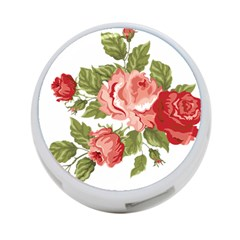 Flower Rose Pink Red Romantic 4-Port USB Hub (Two Sides)