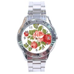 Flower Rose Pink Red Romantic Stainless Steel Analogue Watch