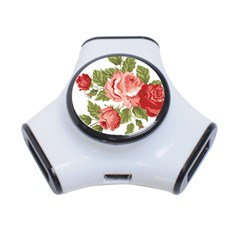 Flower Rose Pink Red Romantic 3 Port Usb Hub