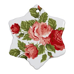 Flower Rose Pink Red Romantic Snowflake Ornament (Two Sides)
