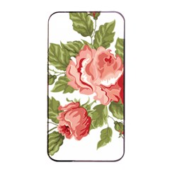 Flower Rose Pink Red Romantic Apple iPhone 4/4s Seamless Case (Black)