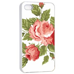 Flower Rose Pink Red Romantic Apple iPhone 4/4s Seamless Case (White)