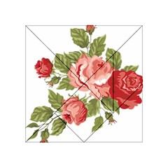Flower Rose Pink Red Romantic Acrylic Tangram Puzzle (4  X 4 )
