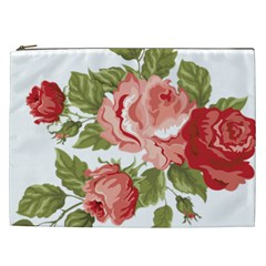 Flower Rose Pink Red Romantic Cosmetic Bag (xxl)