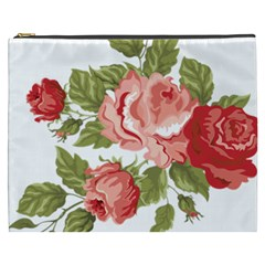 Flower Rose Pink Red Romantic Cosmetic Bag (xxxl)