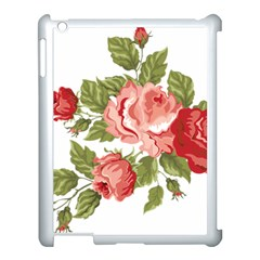 Flower Rose Pink Red Romantic Apple Ipad 3/4 Case (white)