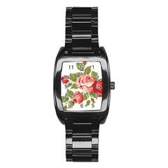 Flower Rose Pink Red Romantic Stainless Steel Barrel Watch