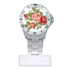 Flower Rose Pink Red Romantic Plastic Nurses Watch