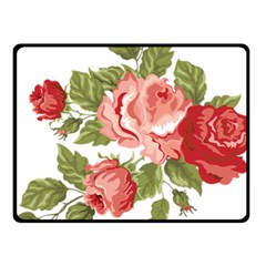 Flower Rose Pink Red Romantic Double Sided Fleece Blanket (small)