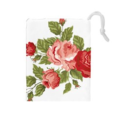 Flower Rose Pink Red Romantic Drawstring Pouches (large)