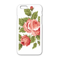 Flower Rose Pink Red Romantic Apple Iphone 6/6s White Enamel Case