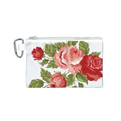 Flower Rose Pink Red Romantic Canvas Cosmetic Bag (s)