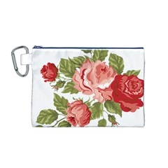 Flower Rose Pink Red Romantic Canvas Cosmetic Bag (m)