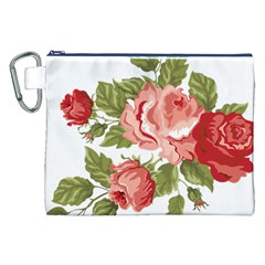 Flower Rose Pink Red Romantic Canvas Cosmetic Bag (xxl)