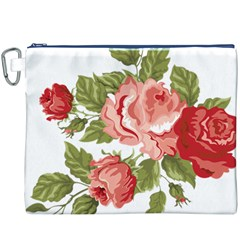Flower Rose Pink Red Romantic Canvas Cosmetic Bag (xxxl)