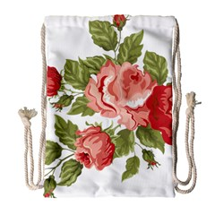 Flower Rose Pink Red Romantic Drawstring Bag (Large)