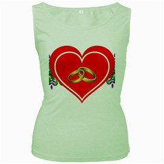 Heart Flowers Ring Women s Green Tank Top