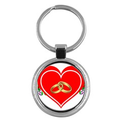 Heart Flowers Ring Key Chains (Round)