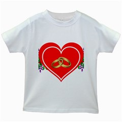 Heart Flowers Ring Kids White T-Shirts