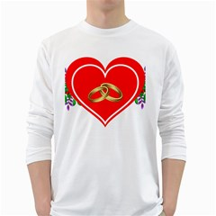 Heart Flowers Ring White Long Sleeve T-Shirts