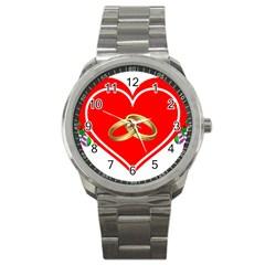 Heart Flowers Ring Sport Metal Watch