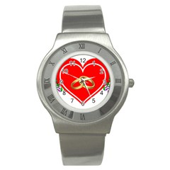 Heart Flowers Ring Stainless Steel Watch