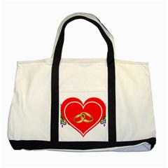 Heart Flowers Ring Two Tone Tote Bag