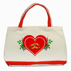 Heart Flowers Ring Classic Tote Bag (red)