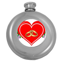 Heart Flowers Ring Round Hip Flask (5 Oz)