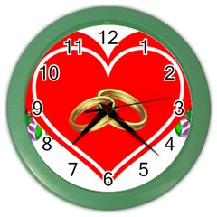 Heart Flowers Ring Color Wall Clocks