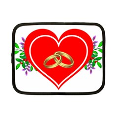 Heart Flowers Ring Netbook Case (small)