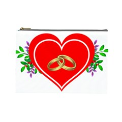 Heart Flowers Ring Cosmetic Bag (large)