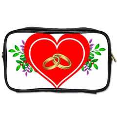 Heart Flowers Ring Toiletries Bags 2 Side