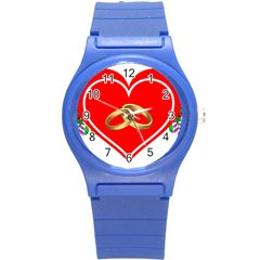 Heart Flowers Ring Round Plastic Sport Watch (s)