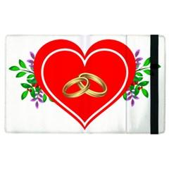 Heart Flowers Ring Apple iPad 2 Flip Case