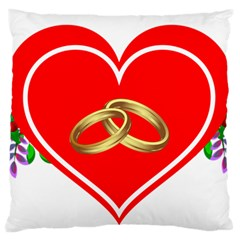 Heart Flowers Ring Large Flano Cushion Case (two Sides)