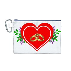 Heart Flowers Ring Canvas Cosmetic Bag (m)