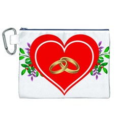 Heart Flowers Ring Canvas Cosmetic Bag (XL)