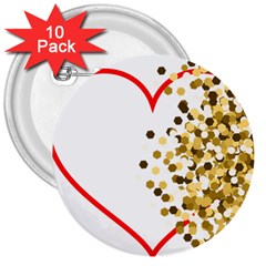 Heart Transparent Background Love 3  Buttons (10 pack)