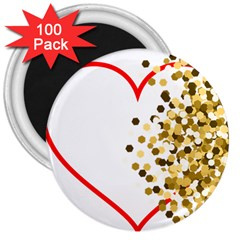 Heart Transparent Background Love 3  Magnets (100 pack)