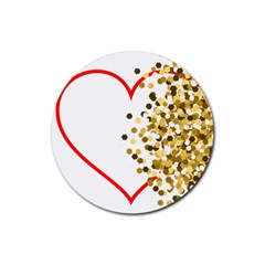 Heart Transparent Background Love Rubber Round Coaster (4 Pack)